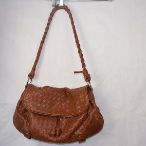 Barneys New York Leather Woven Shoulder Bag